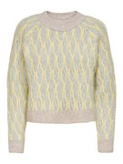 ONLMELLIE L/S O-NECK PULLOVER KNT - Frosty Green/W